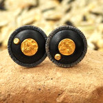 Black ebony cufflinks set in silver w/gold coin & diamond accents