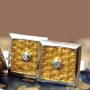 Gold basket weave cufflinks w/diamond accents & white gold rim