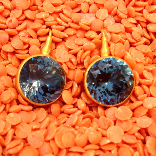 24K Round Blue Topaz Gem Candy Earrings Large