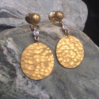 24K White Gold Hammered disk Earrings with Diamonds and White Gold