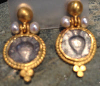 24K Gold Earrings with Tarnished Sterling Silver Coins and Pearls