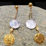 24K Dangling Double Coin Earrings - Long Silver Short Gold