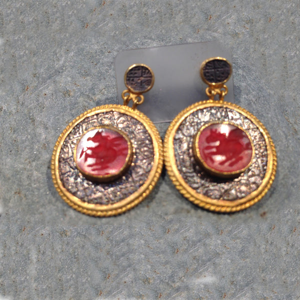 24K Gold & Silver Earrings with Red Agate Center 18K