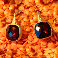 24K Gold Garnet Gem Candy Earrings