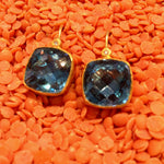 24K GOLD EARRING W/SQ BLUE TPZ w/diamonds, 18K