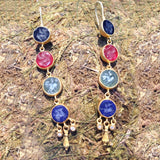 Dangling 24k earrings with JADE/ AGATE / lapis 24K