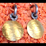 24K GOLD DISC Earrings with Tarnished Silver and DIAMONDS