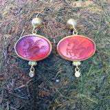 Red Agate Pegasus Oval Shaped 24K Gold Earnings with Diamonds