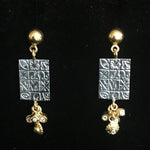 24K Gold & Tarnished Sterling Silver TSS Earrings with Dangling Diamonds