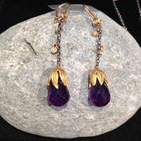 24K Gold with Amethyst Brioles Earrings with Diamonds