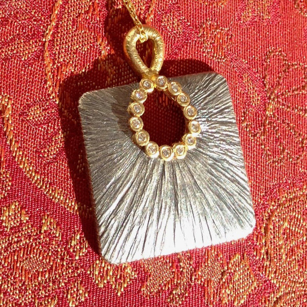Square Pendant Horseshoe Diamonds Necklace