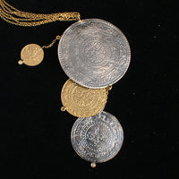 14K Gold Multi-Coin Necklace with Diamonds