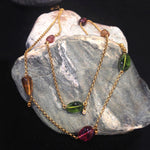 24K Gold Double Strand Chain with Diamond Dots and Tourmaline Stones