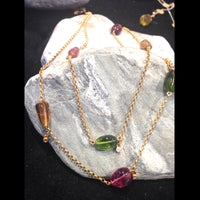 Multi-Color Tourmaline Stones in Double Strand 24K Gold Chain
