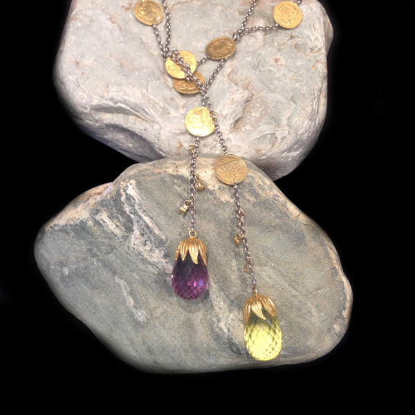 Amethyst and Lime Quartz Briolette Stones with Tarnished Sterling Silver Chain and 24K Gold and Diamond Accents