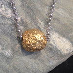 24K Gold Nugget Necklace with Sterling Silver Chain