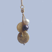 24K Gold Pendant with Double Ottoman Gold Coins and Black & White Pearls