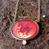 Red Agate Pegasus Oval Cut Pendant with Diamond