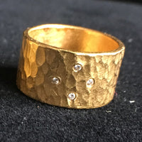 24K Wedding Band Thick Hammered with Diamonds - Size 7.5 Unisex
