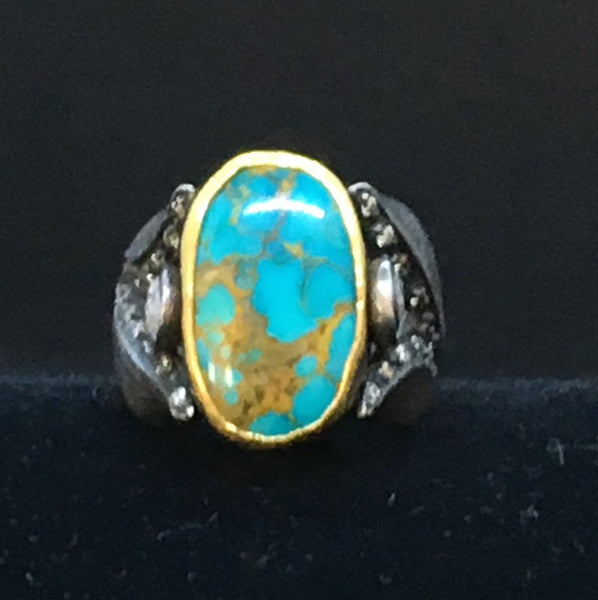 OVAL Turquoise Ring with Jasper Inclusions in Tulip Settings with 2 Large Rose Cut Diamonds