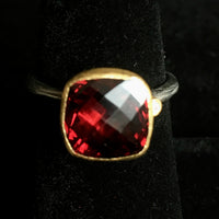 24K Gold Garnet Gem Candy Ring Set with Tarnished Sterling Silver Shank