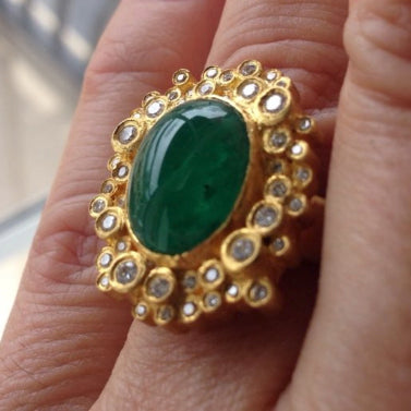 Large 24K Gold Columbian Oval Emerald & Bursts of Diamonds