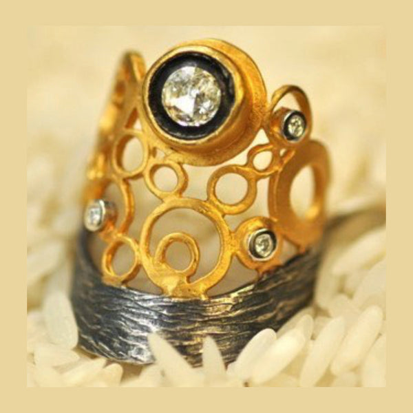 Rose Cut Diamond Bubble Ring 24K Gold & Silver