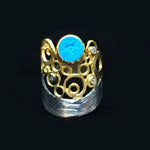 Turquoise Bubble Ring 2K Gold & Silver