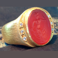 Oval Cut Agate Insignia Ring with Pegasus Etching 24K Gold & Silver with Diamonds