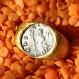 24K Gold Ring with Antique Coin
