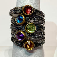 Tarnished Silver Stack Ring w/ 24K Peridot Bezel