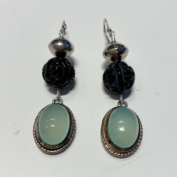Sterling Silver Earrings with Green Moonstones and Onyx