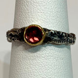 Tarnished Silver Stack Ring w/ 24K Garnet Bezel