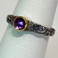 Tarnished Silver Stack Ring w/ 24K Amethyst Bezel
