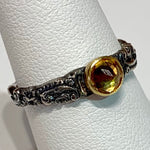 Tarnished Silver Stack Ring w/ 24K Citrine Bezel