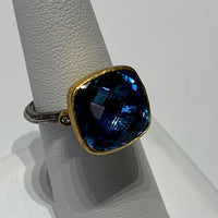 24K Gold Blue Topaz Gem Candy Ring Set with Tarnished Sterling Silver Shank