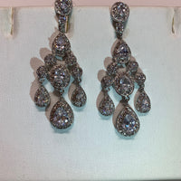 Rhodium Plated Chandelier Earrings with Dangling Oval and Pear Shaped CZs
