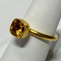 Citrine Gem Candy 24K Gold Stack Ring
