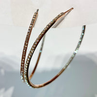 Large Inside Out CZ Hoops in Rose Gold tone- Large