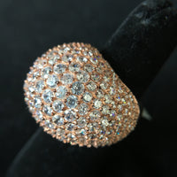 Domed Rose Gold Plated Ring over Silver with CZ