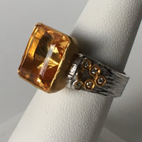 Emerald Cut Citrine Ring Set in 24K Gold with Diamond Accents and Shiny Sterling Silver Shank