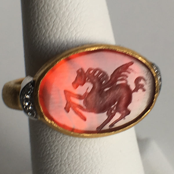 24K Gold Oval Agate Pegasus with Diamond Ring
