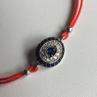 Sterling Silver CZ Evil Eye String Bracelet
