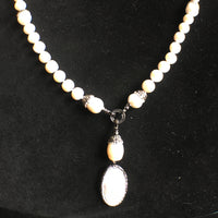 Freshwater and Mabe Pearl Necklace with CZs and Swarovski Crystals