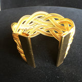 24K Gold Plated Braided Metal Cuff Bracelet