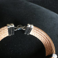 Cable Bracelet in Rose Gold Plated Stainless Steel with White Rhodium Plated Silver and Diamonds