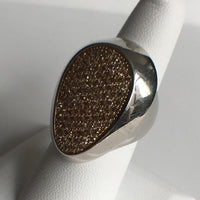 Bold Sterling Silver Ring With Yellow Pave CZ
