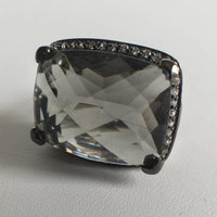 Cushion Cut Black CZ Ring, Black Rhodium