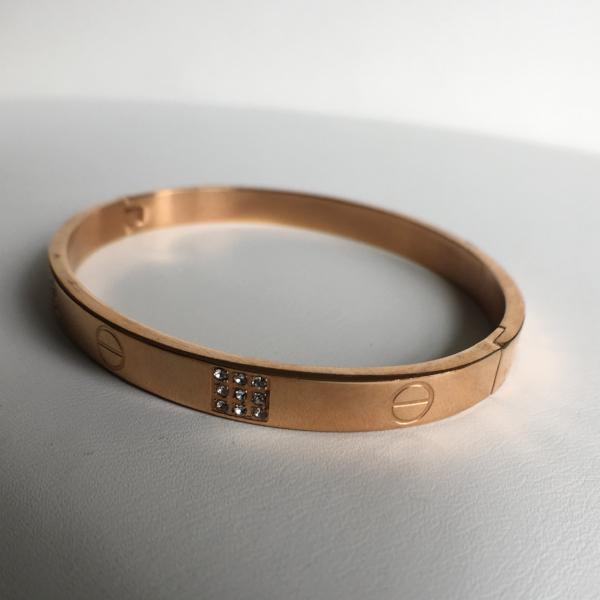 CZ Love Bangle Bracelet, Rose Gold