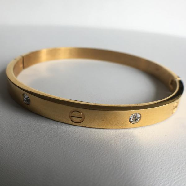 CZ Love Bangle Bracelet, Gold Tone